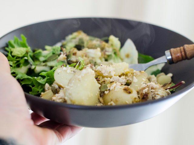 Salade tiede au toffu